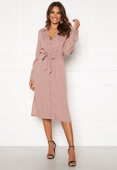 Happy Holly Iris Shirt dress Dusty pink / Dotted Bubbleroom.se
