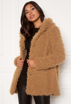 Happy Holly Jenny fur coat Camel Bubbleroom.se