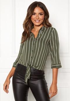 Happy Holly Juliette ss knot shirt Khaki green / Striped Bubbleroom.se