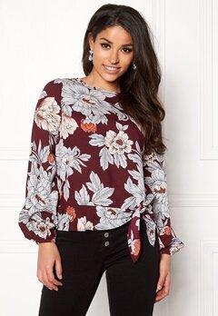 Happy Holly Kacy blouse Wine-red / Patterned Bubbleroom.se