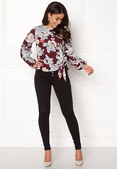 Happy Holly Kacy blouse Wine-red / Patterned Bubbleroom.se