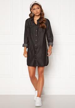 Happy Holly Kathleen long denim shirt Black denim Bubbleroom.se