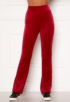 Happy Holly Kaylee velour flared leggings Red Bubbleroom.se