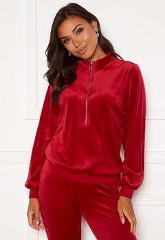 Happy Holly Kaylee velour zip top Red Bubbleroom.se