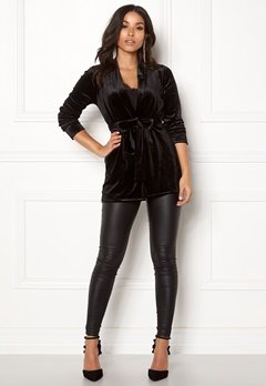 Happy Holly Kiara velour blazer Black Bubbleroom.se
