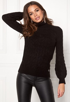 Happy Holly Kira cable knitted sweater Black Bubbleroom.se