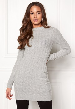 Happy Holly Kira cable sweater dress Grey melange Bubbleroom.se