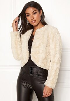 Happy Holly Kirsten fur jacket Light beige Bubbleroom.se