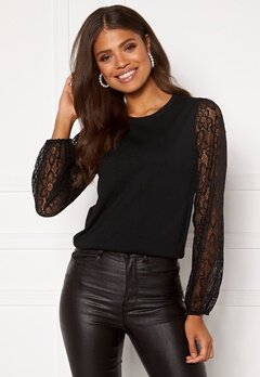 Happy Holly Laila lace sweater Black Bubbleroom.se