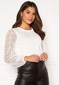 Happy Holly Laila lace sweater Offwhite Bubbleroom.se