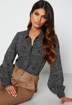 Happy Holly Laura puff sleeve blouse Black / White bubbleroom.se