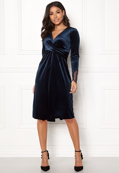 Happy Holly Leonora velour dress Dark blue Bubbleroom.se