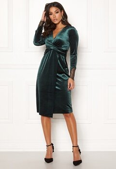 Happy Holly Leonora velvet dress Dark green Bubbleroom.se