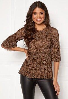 Happy Holly Lina mesh top Leopard Bubbleroom.se