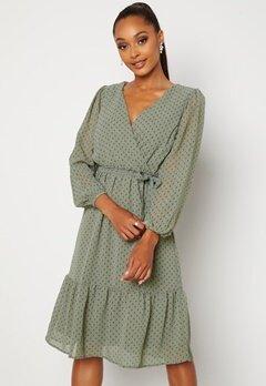 Happy Holly Linn midi Long Sleeve Dress Dusty green Bubbleroom.se