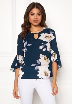 Happy Holly Madelyn Blouse Dark blue / Patterned Bubbleroom.se