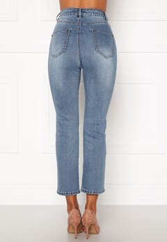 Happy Holly Maja high waist jeans Light denim Bubbleroom.se