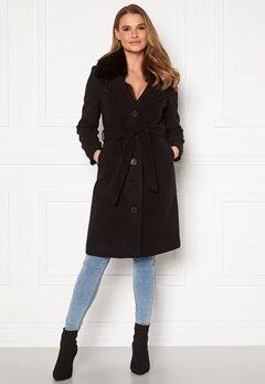 Happy Holly Mariah wool blend coat Black Bubbleroom.se