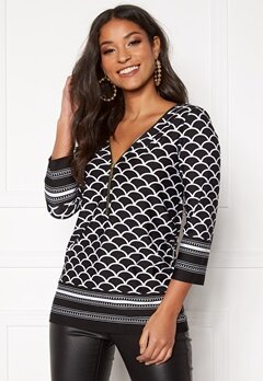 Happy Holly Marion top Black / Patterned Bubbleroom.se
