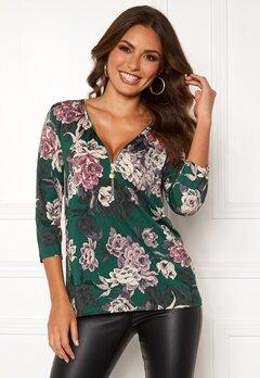 Happy Holly Marion top Dark green / Floral Bubbleroom.se