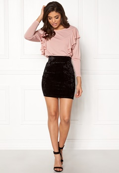 Happy Holly Mathilda velour skirt Black Bubbleroom.se
