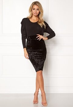 Happy Holly Mathilda velour skirt Black Bubbleroom.eu