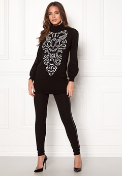 Happy Holly Melanie long sweater Black / White Bubbleroom.se