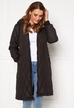 Happy Holly Melanie quilted hood jacket Black bubbleroom.se