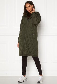 Happy Holly Melanie quilted hood jacket Khaki green Bubbleroom.se