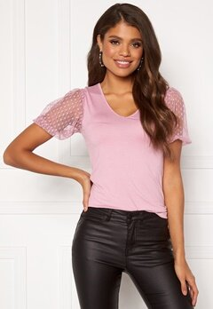 Happy Holly Melissa v-neck puff top Dusty pink Bubbleroom.se