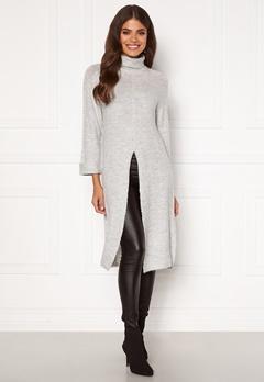 Happy Holly Milla long sweater Light grey melange Bubbleroom.se