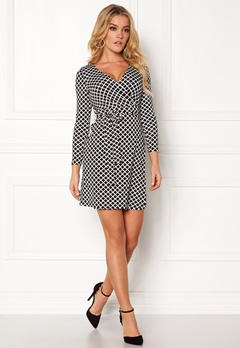Happy Holly Millie wrap dress Black / Offwhite Bubbleroom.se