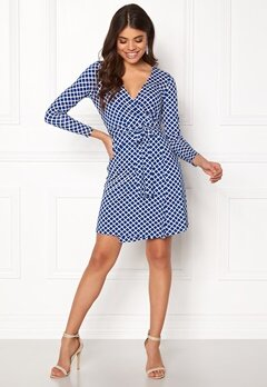 Happy Holly Millie wrap dress Blue / Offwhite Bubbleroom.se