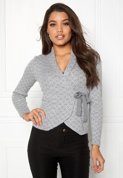 Happy Holly Mona cardigan Grey melange / Offwhite Bubbleroom.se