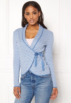 Happy Holly Mona cardigan Light blue / Offwhite Bubbleroom.se