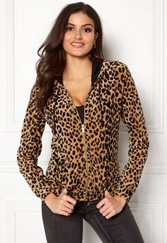 Happy Holly Nicole velour jacket Leopard Bubbleroom.se