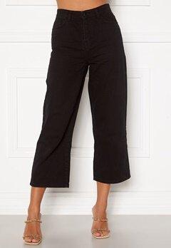 Happy Holly Pamela wide leg culotte jeans Black Bubbleroom.se