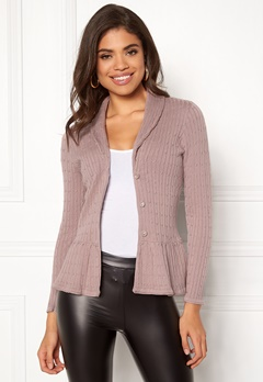 Happy Holly Patricia cable cardigan Dusty pink Bubbleroom.se