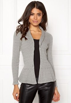 Happy Holly Patricia cable cardigan Grey melange Bubbleroom.se