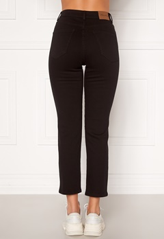 Happy Holly Peggy straight leg jeans Black denim Bubbleroom.se