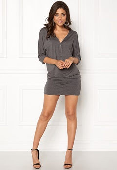 Happy Holly Perla cuff tunic Dark grey melange Bubbleroom.dk