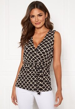 Happy Holly Sam wrap top Black / Offwhite Bubbleroom.se