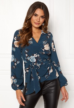 Happy Holly Samantha blouse Petrol-blue / Patterned Bubbleroom.se