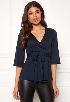 Happy Holly Samantha wrap top Dark blue Bubbleroom.se