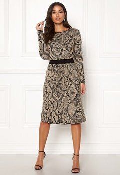 Happy Holly Sandra knitted lurex skirt Animal print Bubbleroom.se