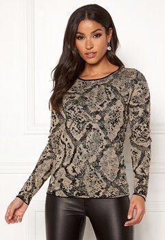 Happy Holly Sandra knitted lurex sweater Animal print Bubbleroom.se