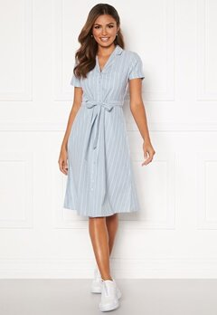 Happy Holly Sandra ss shirt dress Blue / White Bubbleroom.se