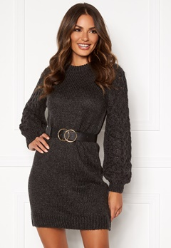 Happy Holly Sara long sweater Dark grey melange Bubbleroom.se