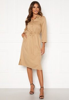 Happy Holly Sarah utility shirt dress Khaki beige Bubbleroom.se