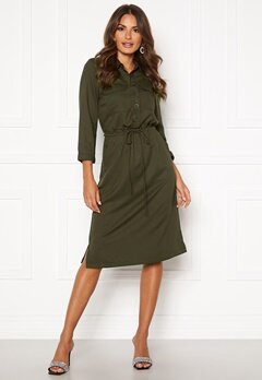 Happy Holly Sarah utility shirt dress Khaki green Bubbleroom.se